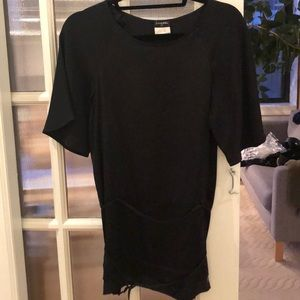 Chanel silk blouse with a waist strap. Black. FR34